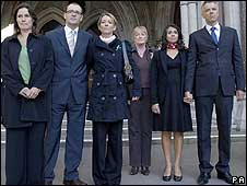 Six of the so-called Tapas seven - Jane Tanner, David Payne, Fiona Payne, Dianne Webster, Rachael Oldfield and Dr Matthew Oldfield - outside the High Court