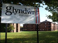 Glyndwr University sign
