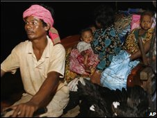 Cambodian villagers flee Anlong Veng, in Cambodia near the border with Thailand Cambodia, following Wednesday's clash