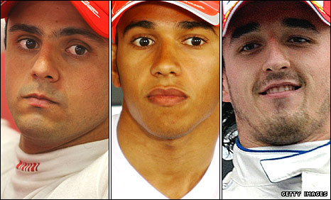 Felipe Massa, Lewis Hamilton and Robert Kubica