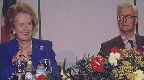 Margaret Thatcher and Douglas Hurd