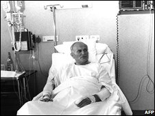 Pope John Paul II in hospital in Rome after an assassination attempt in 1981