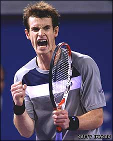 Andy Murray celebrates a point in his win over Marin Cilic