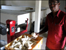 Nanam Dziedzoave stands near a cassava processing machine