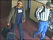 CCTV footage of two men in a hotel