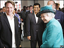 Queen Elizabeth II with YouTube's Chad Hurley and Google's Nikesh Arora