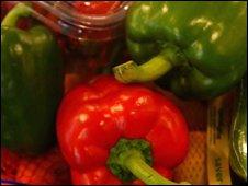 vegetables in shopping basket