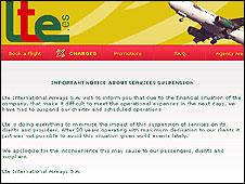 LTE website announcing suspension of flights
