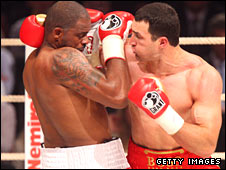 Wladimir Klitschko (right) in action against Tony Thompson in July 2008