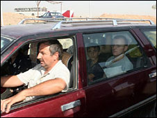 An Iraqi Christian family at a checkpoint north of Mosul