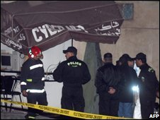 Scene of a suicide bombing at an internet cafe in Casablanca