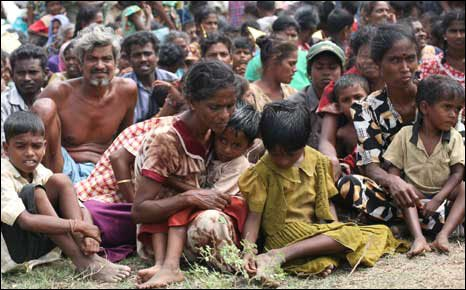 Some of the 200,000 Tamils displaced in the north