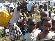 Young children at the temporary camp (Image: Gorilla.cd)