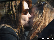 Carla Bruni-Sarkozy kisses Julie Depardieu