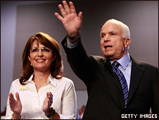 Sarah Palin and John McCain at a campaign rally