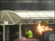 CCTV still of fire at Glasgow airport