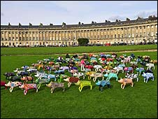 Pigs on Royal Crescent Bath