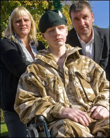 Ranger Andrew Allen with his mother Linda Sheridan and her partner Jim Lattimer - pic MOD