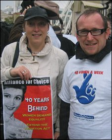 Clare Love and Ryan McKinney at the pro-choice rally