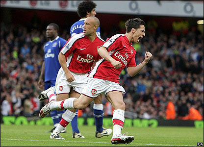 Samir Nasri celebrates scoring for Arsenal