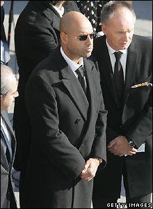 Sayf Gaddafi (in sunglasses) at Joerg Haider's funeral - 18/10/2008