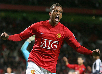 Nani celebrates scoring United's fourth