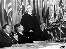 British economist John Maynard Keynes addresses the Bretton Woods conference in July 1944