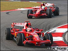 Kimi Raikkonen leads Ferrari team-mate Felipe Massa during the Chinese Grand Prix