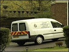 Police van at attack scene