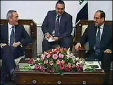 John Hutton meeting Iraqi Prime Minister Nouri al-Maliki