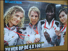 Poster showing Belgian's women 4x100m relay team.