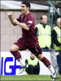 Bruno Aguiar celebrates after scoring Hearts' equaliser