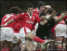 Mike Phillips playing for Wales on his debut