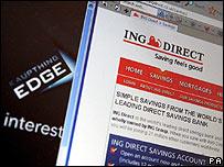 Imagen del sitio de ING y el banco que hace poco tomó, Kaupthing.