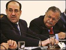 Nouri Maliki and Jalal Talabani in Baghdad (17 October 2008)