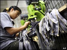 Factory worker in Fujian province (18 October 2008)