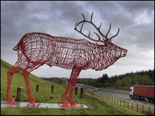 Red stag sculpture