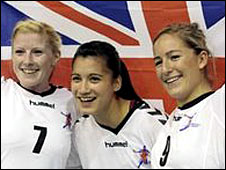 Great Britain's Lynn McCafferty, Holly Lam-Moores and Britt Goodwin celebrate
