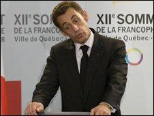 French President Nicolas Sarkozy in Quebec City, Canada, 18 October 2008