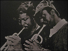 "Old record label photo of Sekou ""Le Grow"" Camara (left)"