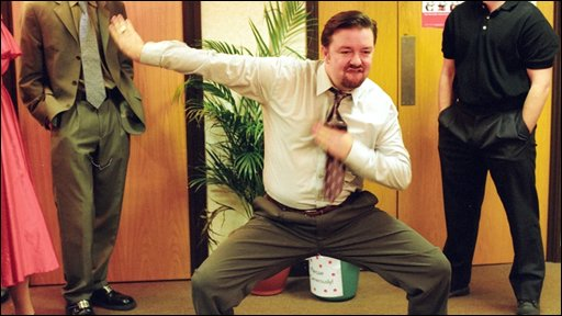 Ricky Gervais as  David Brent dancing in The Office