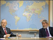 Brazil's President Luiz Inacio Lula da Silva, right, meets Brazil's Finance Minister Guido Mantega to discuss the financial crisis in Sao Paulo, Monday 20 October 2008.