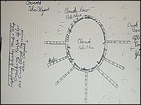 Dibujo de un OVNI  [Imagen: Archivos Nacionales británicos]