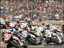 Fans watching the 2008 World Superbikes championship at Brands Hatch