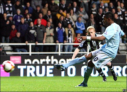 Robinho opens the scoring for Newcastle