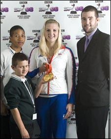 School Reporters, Ellis Guilford School and Sports College, Nottingham, with Rebecca Adlington