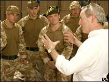 Defence Secretary John Hutton meets British troops in Basra