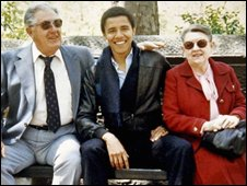 The student Barack Obama with grandparents, Madelyn Dunham (R) and Stanley Dunham, in New York (undated photo from the Obama campaign)