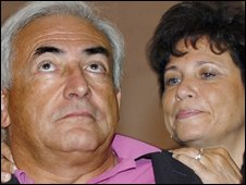 Dominique Strauss-Khan (L) with his wife Anne Sinclair pictured in August 2006 in south-western France