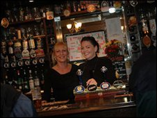 Kerry Hewitt (right) pub landlady